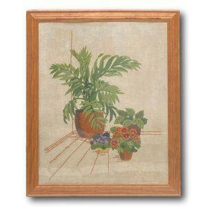 Vintage  Interior Plants & Flowers Art in Crewel